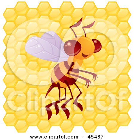 Royalty-Free (RF) Clipart Illustration of a Proud Bee Buzzing In Front Of A Honeycomb by John Schwegel