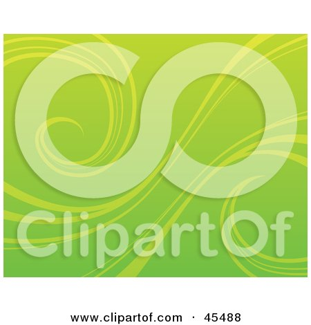 Royalty-Free (RF) Clipart Illustration of a Green Background With Organic Curling Vines by John Schwegel