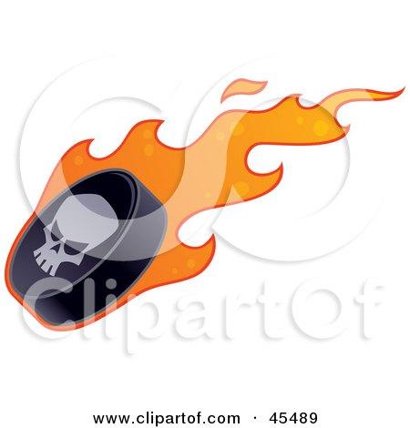 Royalty-Free (RF) Clipart Illustration of a Skull on a Flaming Hockey Puck by John Schwegel