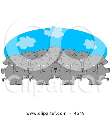 Anthropomorphic Elephant Herd Standing Together and Holding Hands Posters, Art Prints