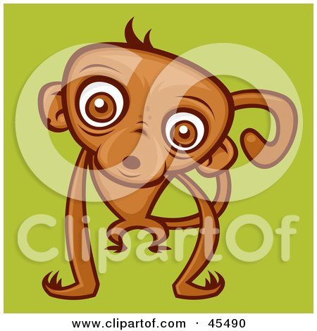 Royalty-Free (RF) Clipart Illustration of a Confused Brown Monkey Staring At The Viewer by John Schwegel