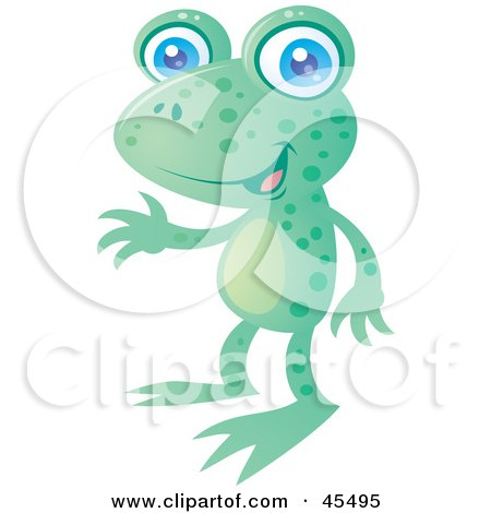 Royalty-Free (RF) Clipart Illustration of a Friendly Spotted Green Frog With Blue Eyes by John Schwegel