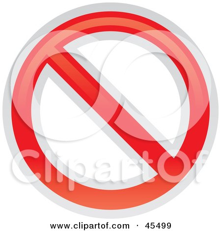 Royalty-free (RF) Clipart Illustration of a Prohibited Restriction Sign by John Schwegel