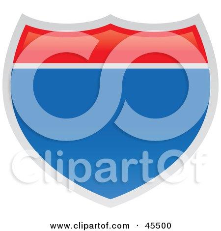 Royalty-free (RF) Clipart Illustration of a Blank American Interstate Sign by John Schwegel
