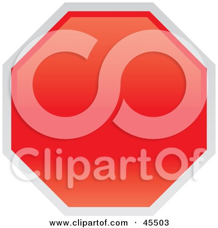 Royalty-free (RF) Clipart Illustration of a Blank Red Stop