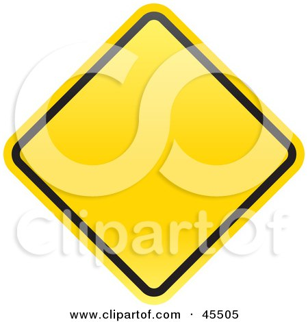 Royalty-free (RF) Clipart Illustration of a Blank Yellow Diamond Shaped Warning Sign With A Black Border by John Schwegel