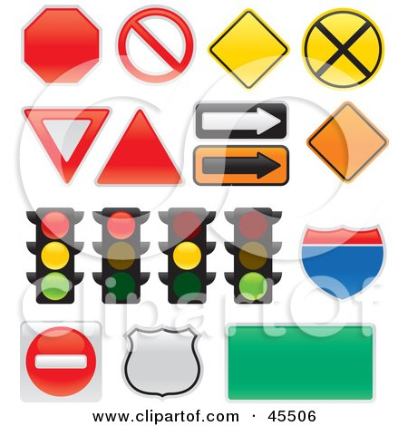 Royalty-free (RF) Clipart Illustration of a Digital Collage of Street Lights and Signs by John Schwegel