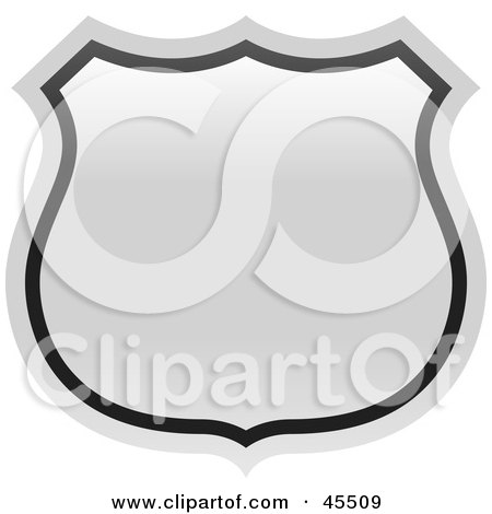 Royalty-free (RF) Clipart Illustration of a Blank White Route Highway Sign by John Schwegel
