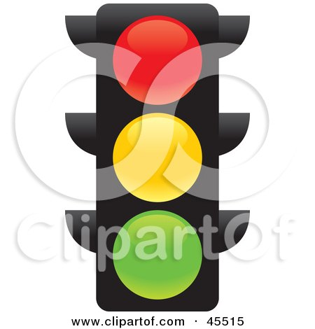 Clipart Illustration of a Red Traffic Light In Front Of A Green ...