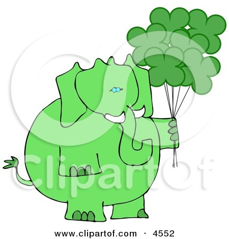 Anthropomorphic Green Elephant with Shamrock Balloons On St. Patrick's Day Posters, Art Prints