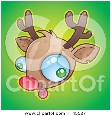 Royalty-free (RF) Clipart Illustration of Rudolph The Red Nosed Reindeer Making A Silly Face by John Schwegel