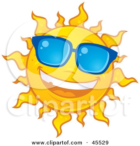 Royalty-free (RF) Clipart Illustration of a Smiling Sun Shining And Wearing Blue Shades by John Schwegel