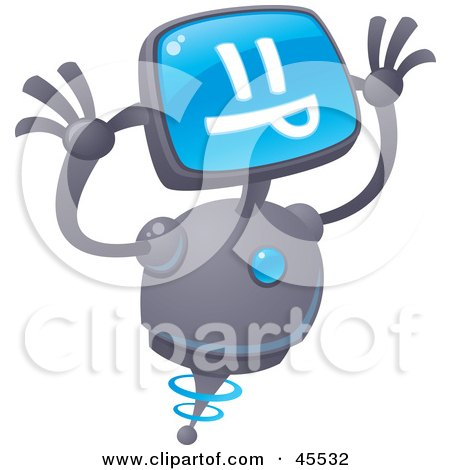 Royalty-free (RF) Clipart Illustration of a Silly Robot With A Computer Head, Making A Funny Face by John Schwegel