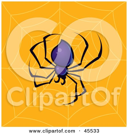 Royalty-free (RF) Clipart Illustration of a Purple Spider Weaving A Strong Web by John Schwegel