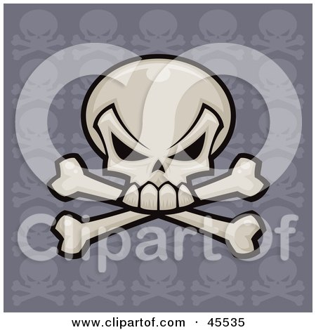 Royalty-free (RF) Clipart Illustration of a Skull And Crossbones With A Repeat Pattern Purple Background by John Schwegel
