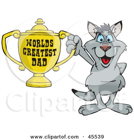 Royalty-free (RF) Clipart Illustration of a Kangaroo Character Holding A Golden Worlds Greatest Dad Trophy by Dennis Holmes Designs