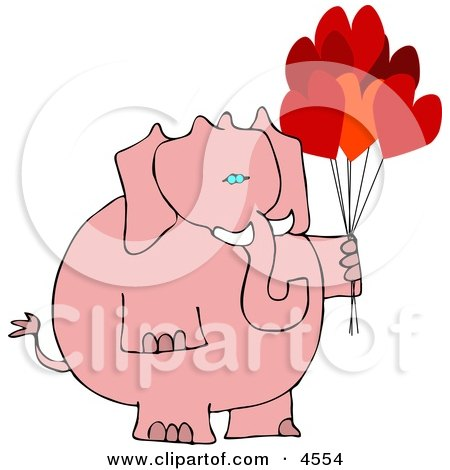 Anthropomorphic Pink Elephant with Heart Balloons On Valentine's Day Clipart by djart