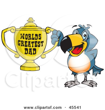 Royalty-free (RF) Clipart Illustration of a Toucan Bird Character Holding A Golden Worlds Greatest Dad Trophy by Dennis Holmes Designs