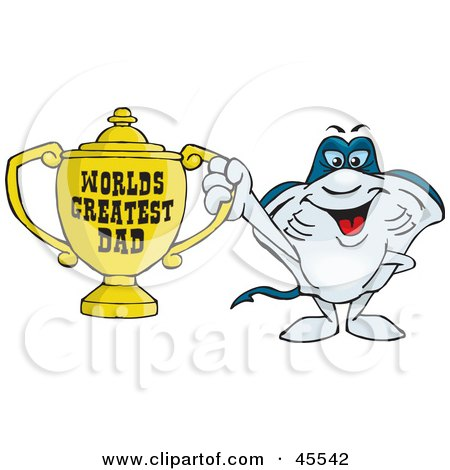 Royalty-free (RF) Clipart Illustration of a Stingray Character Holding A Golden Worlds Greatest Dad Trophy by Dennis Holmes Designs