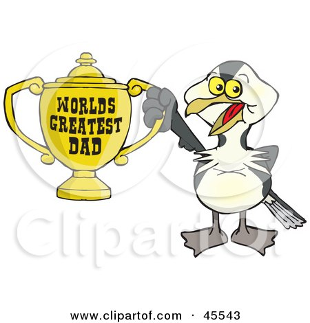 Royalty-free (RF) Clipart Illustration of a Shag Bird Character Holding A Golden Worlds Greatest Dad Trophy by Dennis Holmes Designs