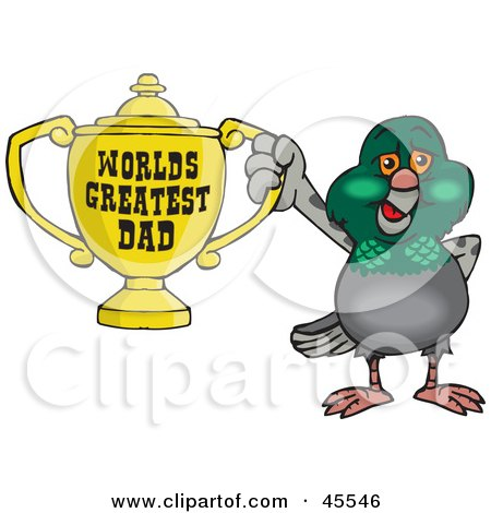 Royalty-free (RF) Clipart Illustration of a Pigeon Bird Character Holding A Golden Worlds Greatest Dad Trophy by Dennis Holmes Designs