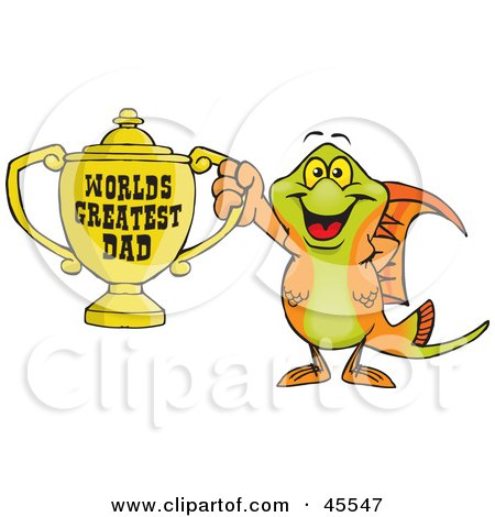 Royalty-free (RF) Clipart Illustration of a Swordtail Fish Character Holding A Golden Worlds Greatest Dad Trophy by Dennis Holmes Designs