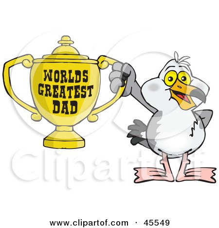 Royalty-free (RF) Clipart Illustration of a Seagull Character Holding A Golden Worlds Greatest Dad Trophy by Dennis Holmes Designs