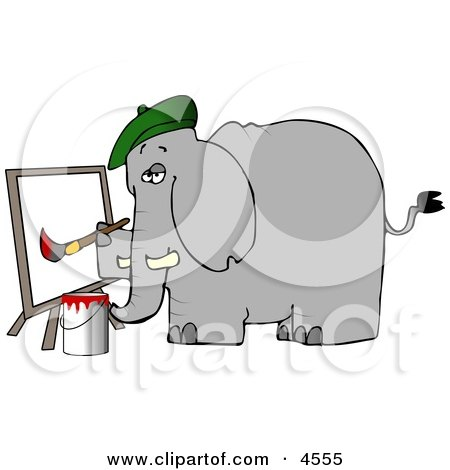 Anthropomorphic Elephant Painter Painting a Picture On Canvas Posters, Art Prints