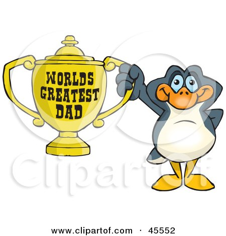 Royalty-free (RF) Clipart Illustration of a Penguin Bird Character Holding A Golden Worlds Greatest Dad Trophy by Dennis Holmes Designs