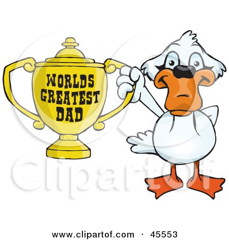Royalty-free (RF) Clipart Illustration of a Mute Swan Bird Character Holding A Golden Worlds Greatest Dad Trophy by Dennis Holmes Designs