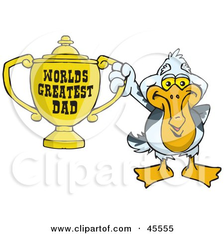 Royalty-free (RF) Clipart Illustration of a Pelican Bird Character Holding A Golden Worlds Greatest Dad Trophy by Dennis Holmes Designs