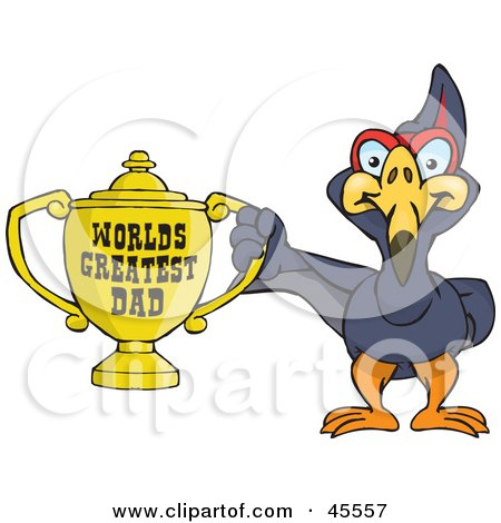 Royalty-free (RF) Clipart Illustration of a Terradactyl Bird Character Holding A Golden Worlds Greatest Dad Trophy by Dennis Holmes Designs