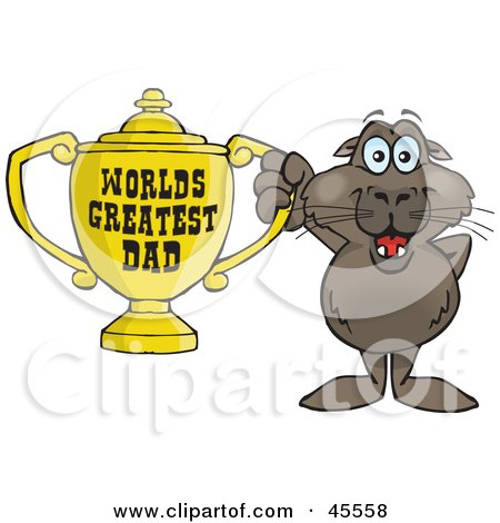 Royalty-free (RF) Clipart Illustration of a Sea Lion Character Holding A Golden Worlds Greatest Dad Trophy by Dennis Holmes Designs