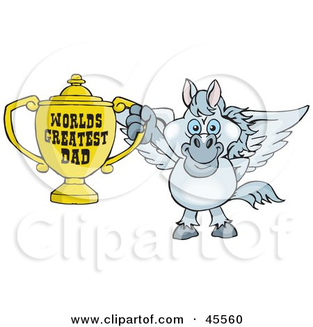 Royalty-free (RF) Clipart Illustration of a Pegasus Character Holding A Golden Worlds Greatest Dad Trophy by Dennis Holmes Designs