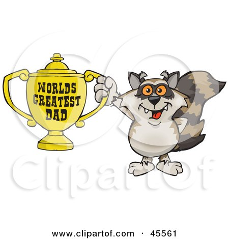 Royalty-free (RF) Clipart Illustration of a Raccoon Character Holding A Golden Worlds Greatest Dad Trophy by Dennis Holmes Designs