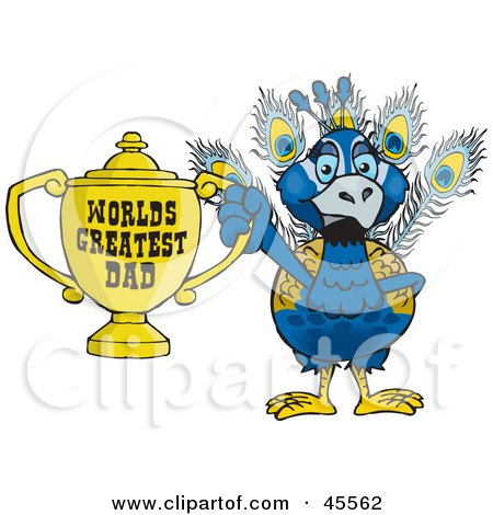 Royalty-free (RF) Clipart Illustration of a Peacock Bird Character Holding A Golden Worlds Greatest Dad Trophy by Dennis Holmes Designs