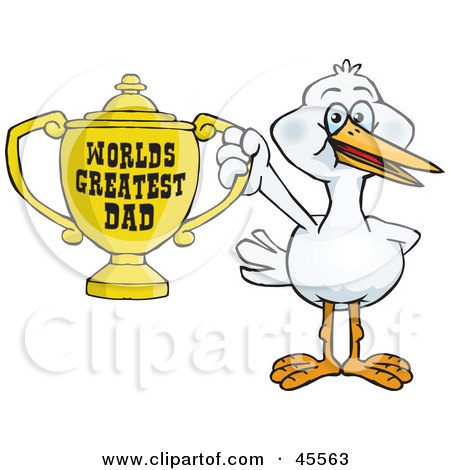 Royalty-free (RF) Clipart Illustration of a Stork Bird Character Holding A Golden Worlds Greatest Dad Trophy by Dennis Holmes Designs