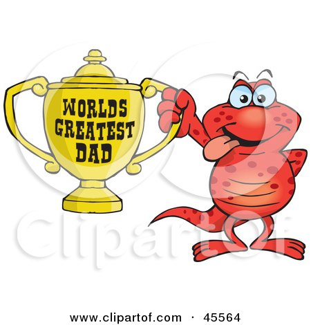Royalty-free (RF) Clipart Illustration of a Red Salamander Character Holding A Golden Worlds Greatest Dad Trophy by Dennis Holmes Designs