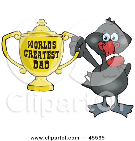 Royalty-free (RF) Clipart Illustration of a Black Swan Bird Character Holding A Golden Worlds Greatest Dad Trophy by Dennis Holmes Designs