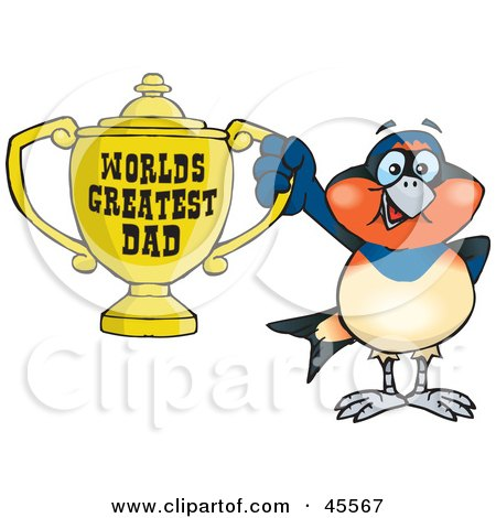 Royalty-free (RF) Clipart Illustration of a Swallow Bird Character Holding A Golden Worlds Greatest Dad Trophy by Dennis Holmes Designs