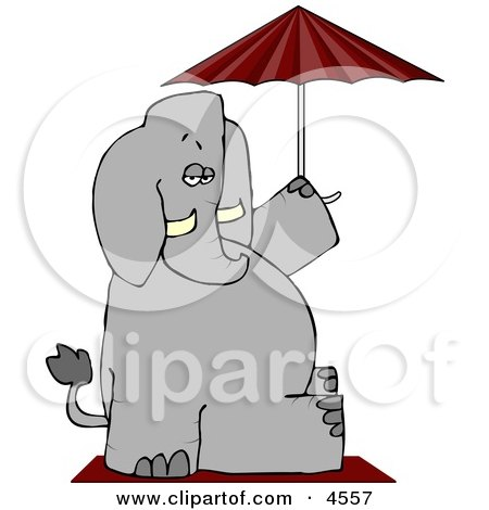 Anthropomorphic Elephant Sitting Under an Umbrella Posters, Art Prints