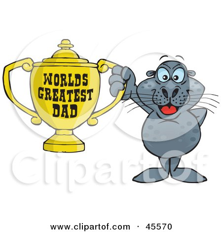 Royalty-free (RF) Clipart Illustration of a Seal Character Holding A Golden Worlds Greatest Dad Trophy by Dennis Holmes Designs
