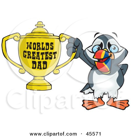 Royalty-free (RF) Clipart Illustration of a Puffin Bird Character Holding A Golden Worlds Greatest Dad Trophy by Dennis Holmes Designs