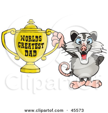 Royalty-free (RF) Clipart Illustration of an Opossum Character Holding A Golden Worlds Greatest Dad Trophy by Dennis Holmes Designs