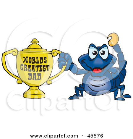 Royalty-free (RF) Clipart Illustration of a Scorpion Character Holding A Golden Worlds Greatest Dad Trophy by Dennis Holmes Designs