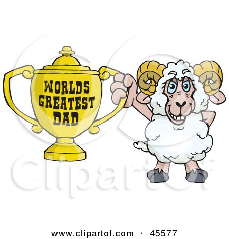 Royalty-free (RF) Clipart Illustration of a Ram Character Holding A Golden Worlds Greatest Dad Trophy by Dennis Holmes Designs