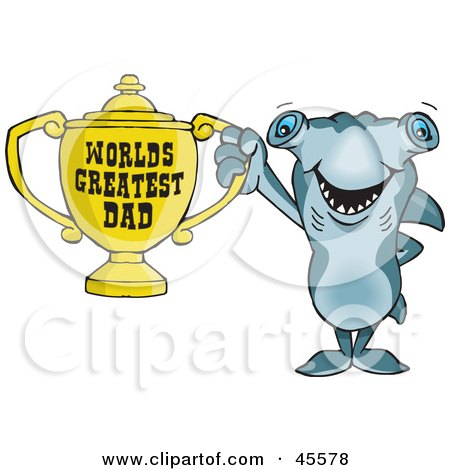 Royalty-free (RF) Clipart Illustration of a Hammerhead Shark Character Holding A Golden Worlds Greatest Dad Trophy by Dennis Holmes Designs
