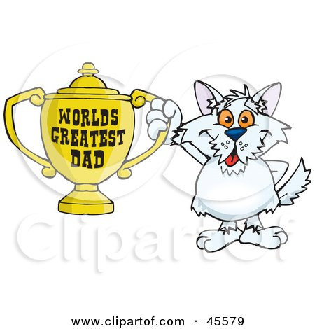 Royalty-free (RF) Clipart Illustration of a Terrier Dog Character Holding A Golden Worlds Greatest Dad Trophy by Dennis Holmes Designs