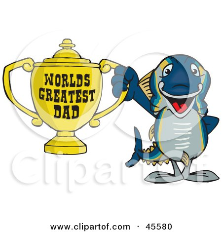 Royalty-free (RF) Clipart Illustration of a Tuna Fish Character Holding A Golden Worlds Greatest Dad Trophy by Dennis Holmes Designs