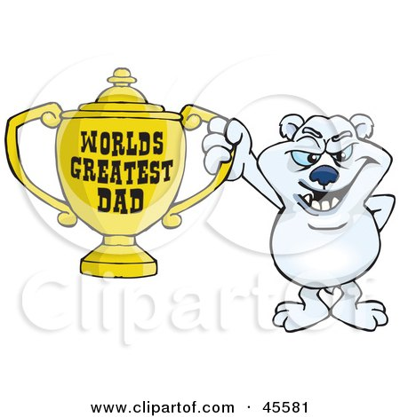 Royalty-free (RF) Clipart Illustration of a Polar Bear Character Holding A Golden Worlds Greatest Dad Trophy by Dennis Holmes Designs